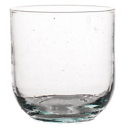 S/6 Moroccan Curved Glasses, Clear/Aqua