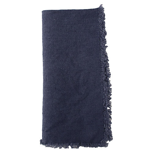 S/4 Fringed Linen Dinner Napkins, Blue
