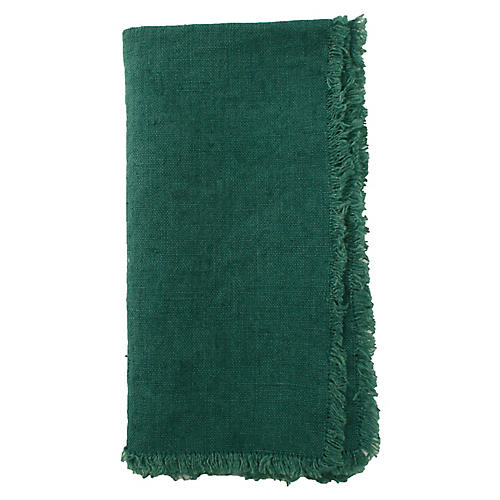 S/4 Fringed Linen Dinner Napkins, Green