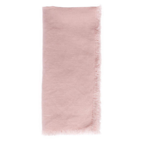 S/4 Fringed Linen Dinner Napkins, Pink