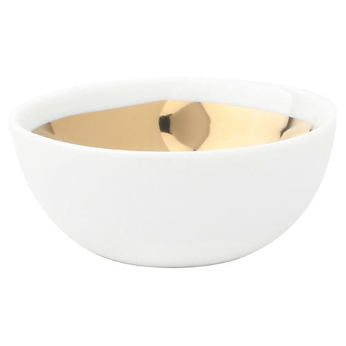 Dauville Serving Bowl, White/Gold