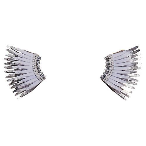 Mini Madeline Earrings, White/Silver