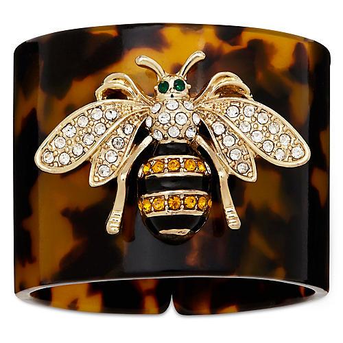 S/4 Stripey Bee Napkin Rings, Brown