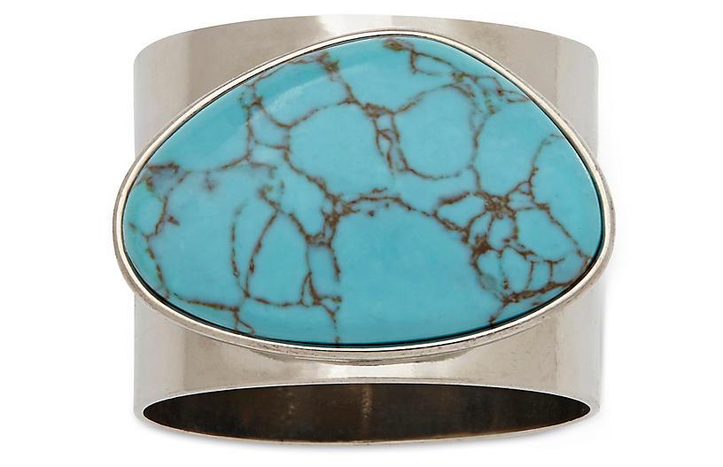 S/2 Gilt Edge Shell Napkin Rings, Turquoise