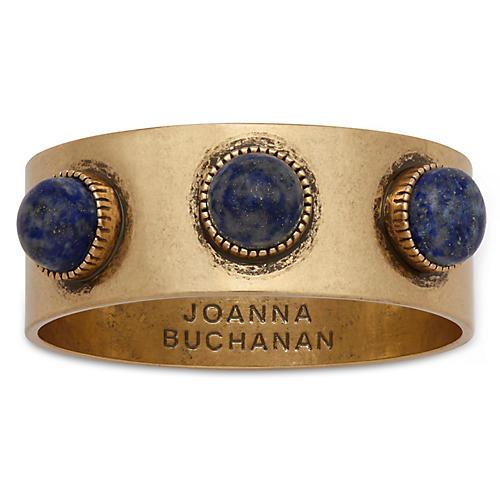 S/4 Cabochon Napkin Rings, Blue