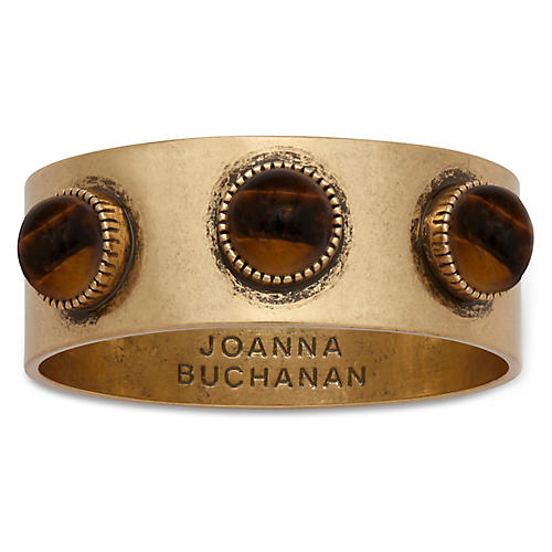 S/4 Cabochon Napkin Rings, Brown