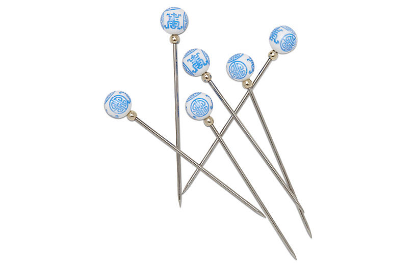 S/6 Chinoiserie Cocktail Picks, Blue/White