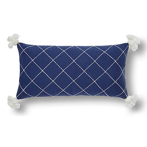Quilted 10x20 Tassel Pillow, Indigo/Cream Linen