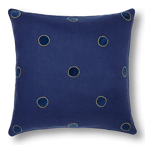 Dot 20x20 Pillow, Indigo/Navy Linen