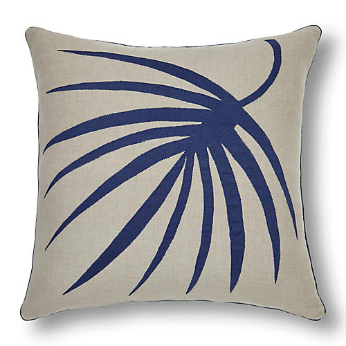 Palm Frond 20x20 Pillow, Flax/Indigo Linen