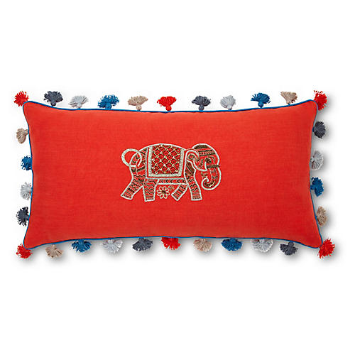 Elephant 10x20 Embroidered Pillow, Orange Linen