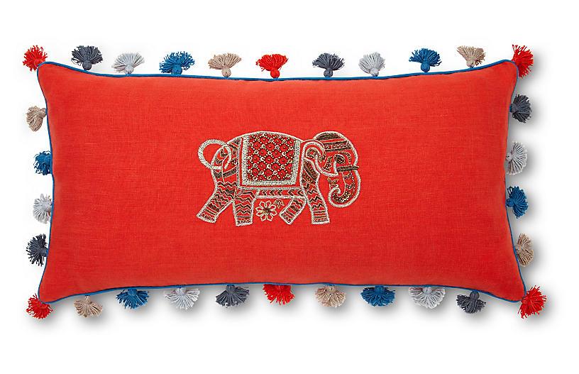 Elephant 10x20 Embroidered Pillow, Orange Linen