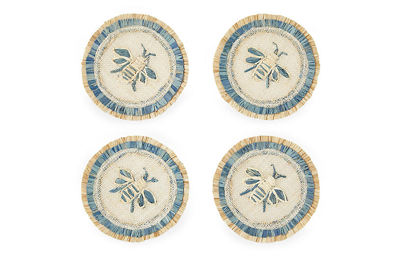 S/4 Bee Straw Coasters, Natural/Blue