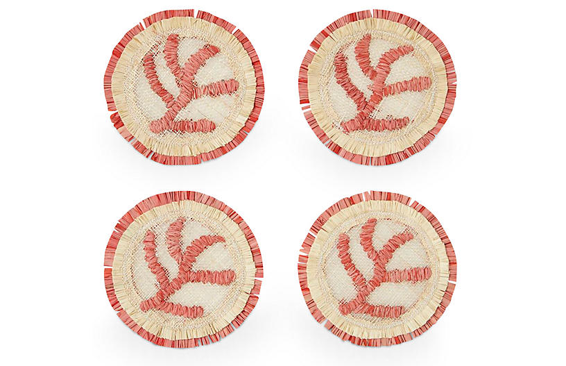 S/4 Coral Straw Coasters, Coral