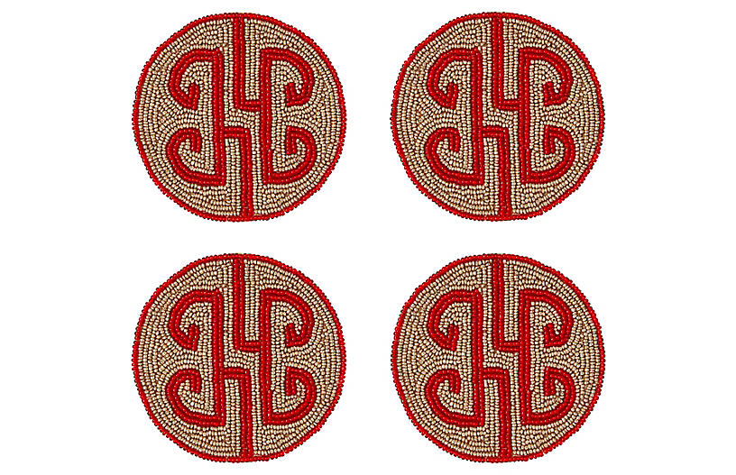 S/4 Chinoiserie Coasters, Ruby