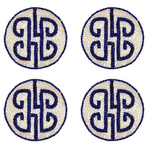 S/4 Chinoiserie Coasters, Navy
