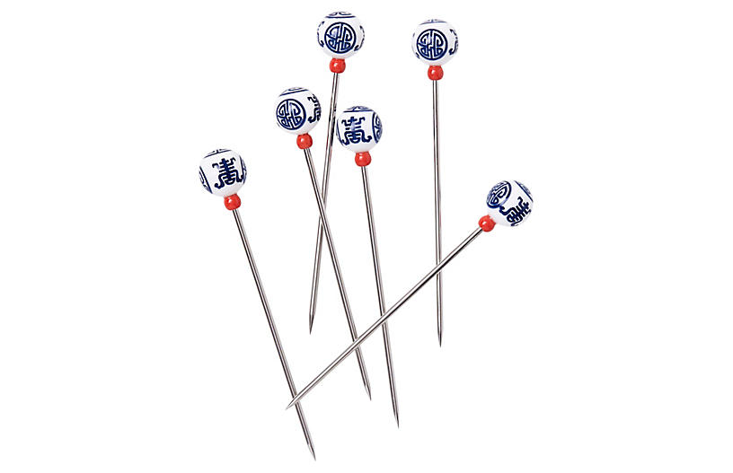 S/6 Chinoiserie Cocktail Picks, Navy