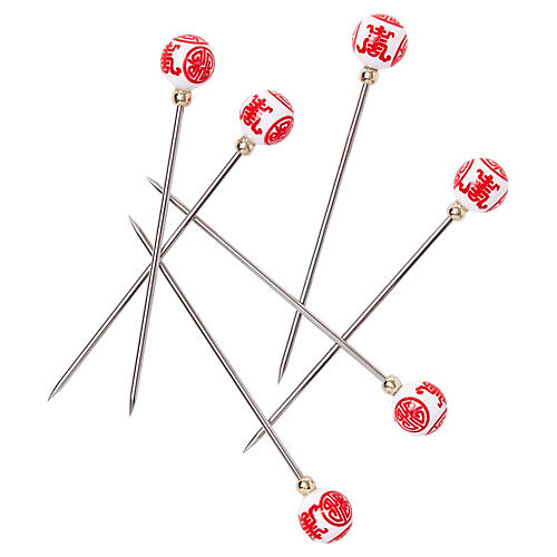 S/6 Chinoiserie Cocktail Picks, Ruby