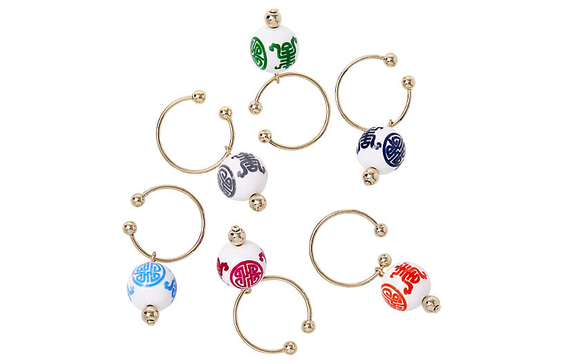 S/6 Chinoiserie Wine Charms, Gold/Multi