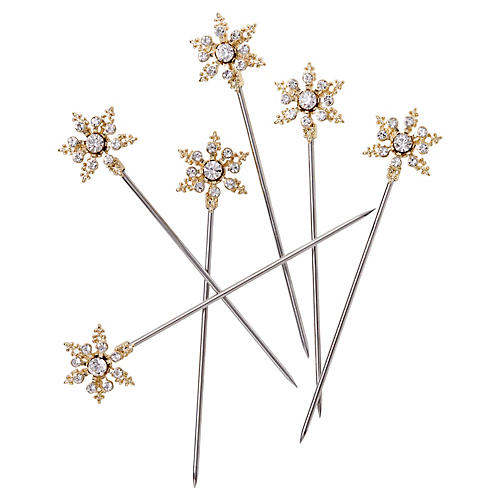 S/6 Snowflake Cocktail Picks, Crystal