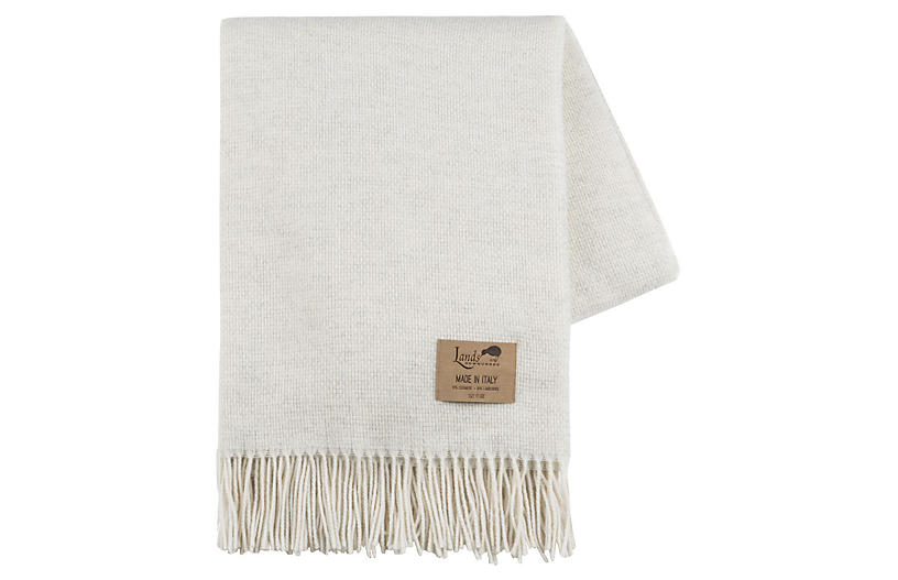 Juno Cashmere-Blend Throw, Ivory