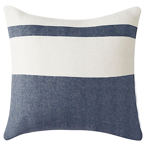 Sydney Stripe 20x20 Pillow, Navy
