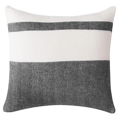 Sydney Stripe 20x20 Pillow, Charcoal