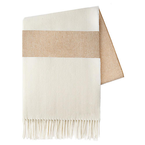Sydney Stripe Cotton Throw, Caramel