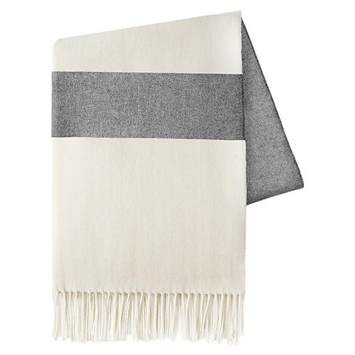 Sydney Stripe Cotton Throw, Charcoal