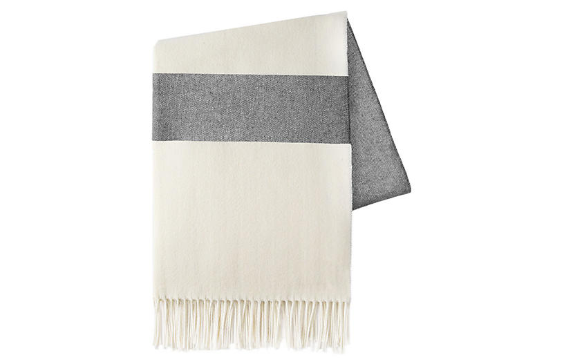 Sydney Stripe Cotton Throw, Charcoal