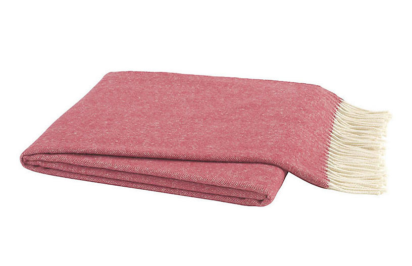 Herringbone Cotton Throw, Tea Rose