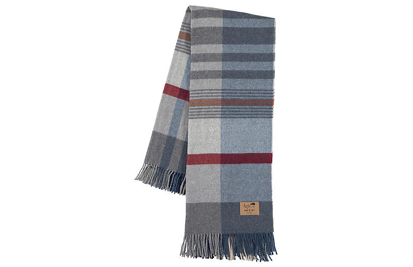 Lambswool Throw Throw, Blue/Gray