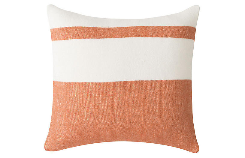 Sydney Stripe 20x20 Pillow, Mandarin