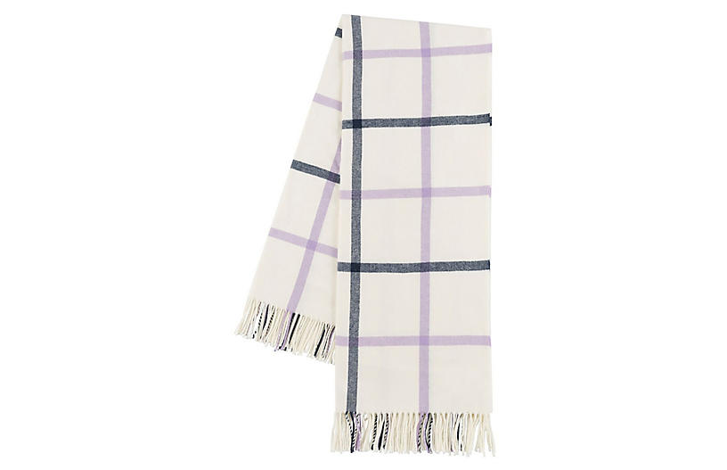Tattersall Throw, Lilac/Navy