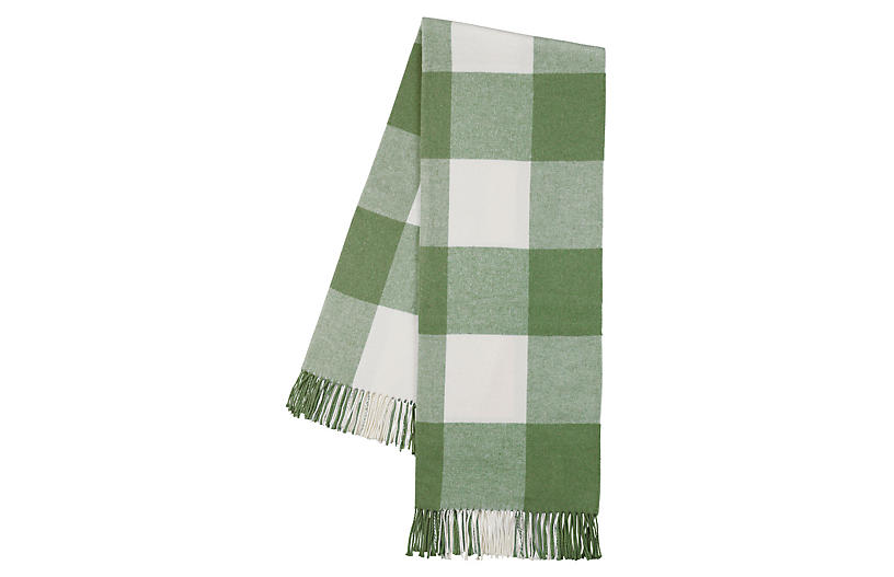 Buffalo Check Throw, Olive/White