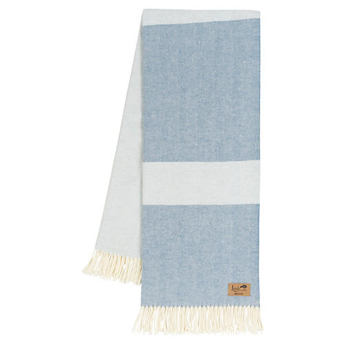 Color-Block Herringbone Cotton-Blend Throw, Chambray/Hydrangea