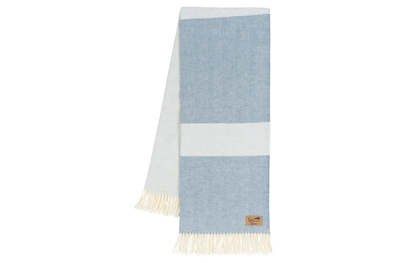Color-Block Herringbone Cotton-Blend Throw, Chambray/Hydrangea