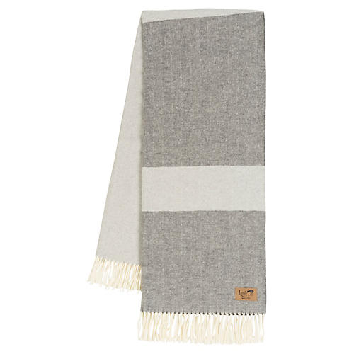 Color-Block Herringbone Cotton-Blend Throw, Light Gray/Charcoal