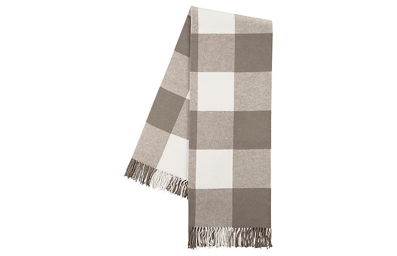 Buffalo Check Cotton Blend Throw, Brown