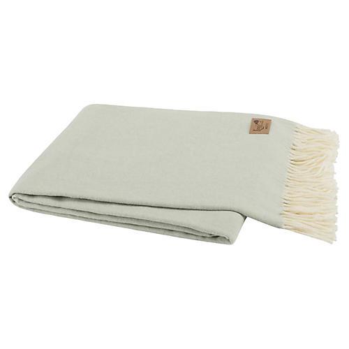 Herringbone Cotton-Blend Throw, Seaglass