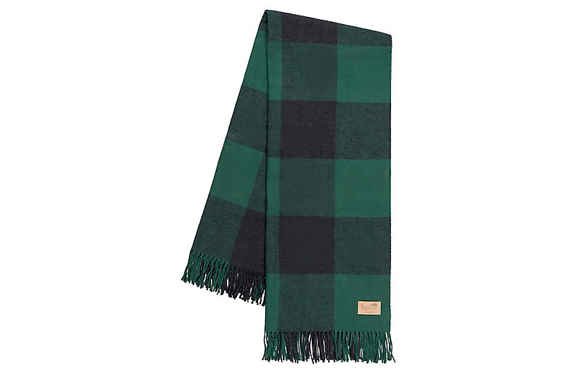 Buffalo Check Cotton Blend Throw, Pine/Graphite