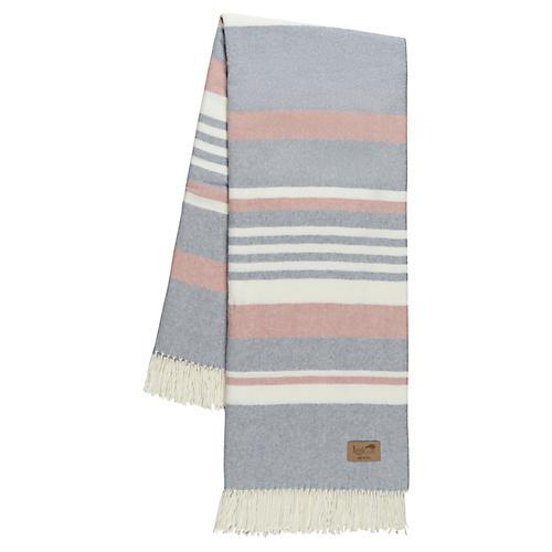 Portside Cotton-Blend Throw, Pink/Gray