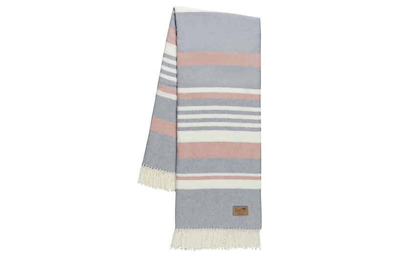 Portside Cotton Blend Throw, Pink/Gray