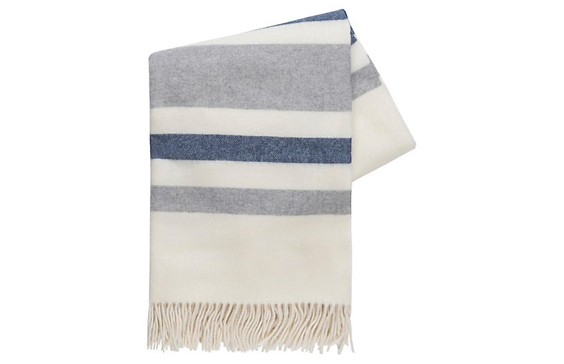 Riviera Cashmere-Blend Throw, Gray/Blue