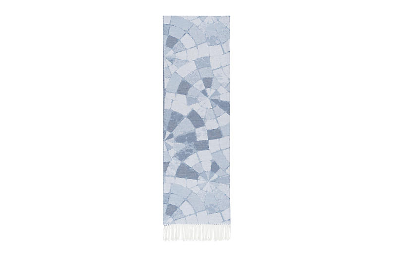 Mosaic Cotton Jacquard Throw, Blue