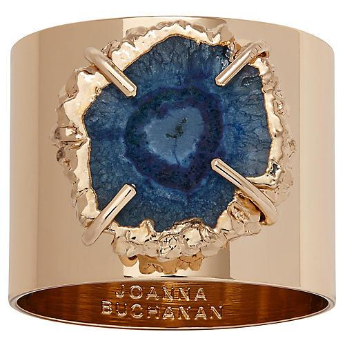 S/2 Crystal Quartz Napkin Rings, Gold/Indigo