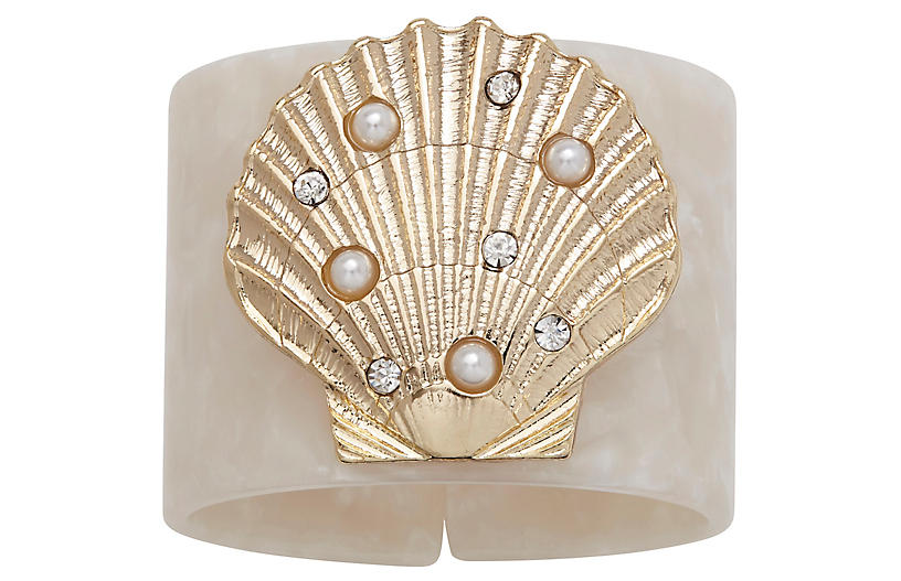 S/4 Shell Resin Napkin Rings, White/Gold