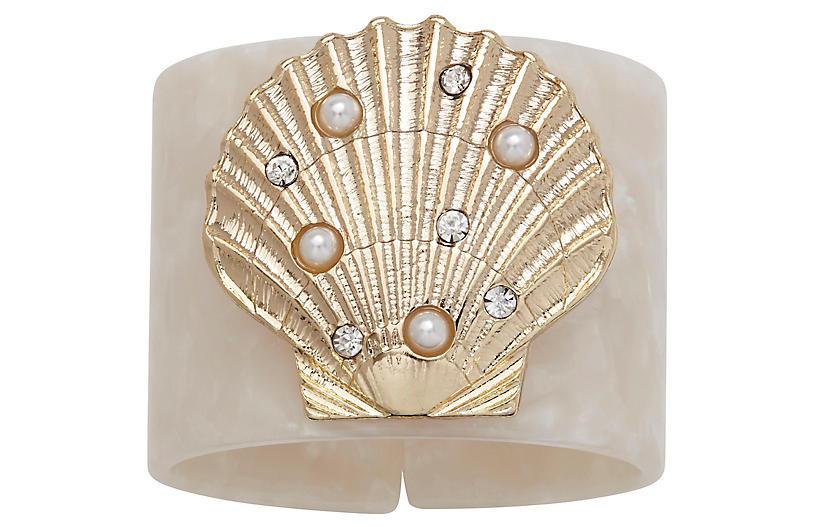 S/4 Shell Resin Napkin Rings, White/Gold