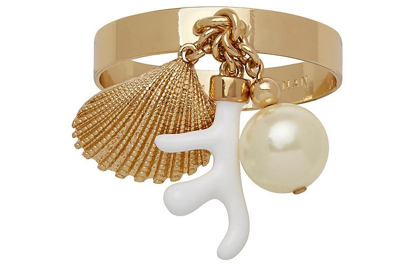 S/4 Skinny Shell Napkin Rings, Gold/White