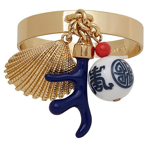 S/4 Skinny Shell Napkin Rings, Gold/Navy